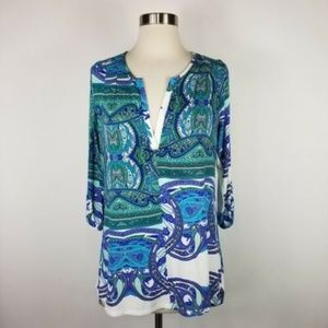 Made in San Francisco Blue Green Printed Top